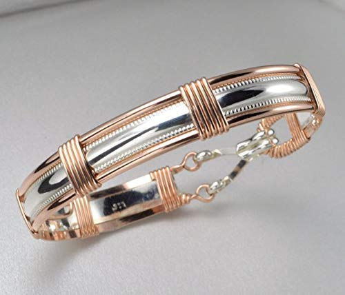 Handmade 14k Rose Gold Filled and Sterling Silver Wire Wrapped Bangle Bracelet Size Medium ()