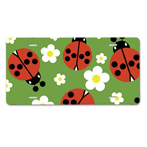 Car Bug Style (Style in Print Flower With Ladybugs Auto Car Aluminum License Plate)