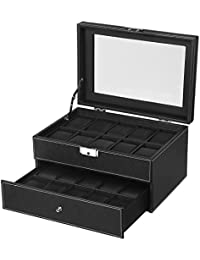 20 Watch Box Mens Lockable Organizer Black Display Case with Glass Top UJWB301