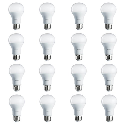 Philips LED Non-Dimmable A19 Frosted Light Bulb: 800-Lumen, 5000-Kelvin, 8.5-Watt (60-Watt Equivalent), E26 Base, Daylight, 16-Pack