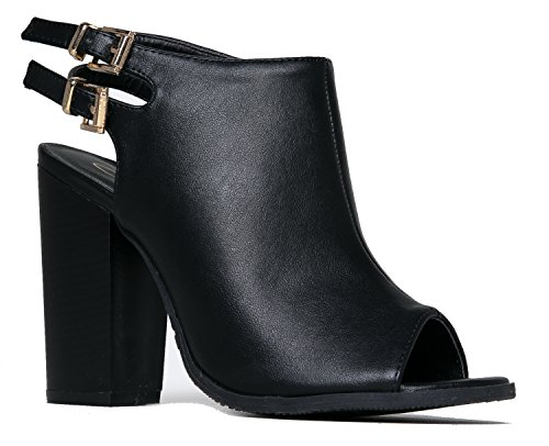 Peep Toe Buckle Bootie ?Stacked Mule High Heel - Open Toe Cutout Ankle Strap - Franny by J. Adams