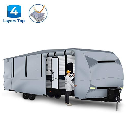 BougeRV Travel Trailer RV Cover Waterproof Anti-UV Camper Cover Fits
