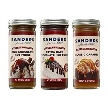 Sanders Assortment Milk Chocolate Hot Fudge, Classic Caramel and Extra Dark Chocolate Hot Fudge Dessert Topping 10 Oz (Pack of ()
