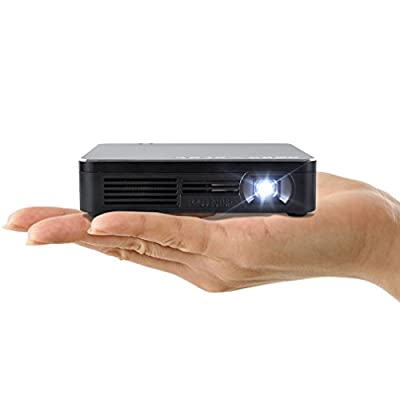 "Amaz-Play Mobile Pico Projector WIFI DLP Portable Mini Pocket Size Multimedia Video LED Gaming Projectors with 120"" Display,120-Minute Battery Life, 20,000-Hour LED Color Black"