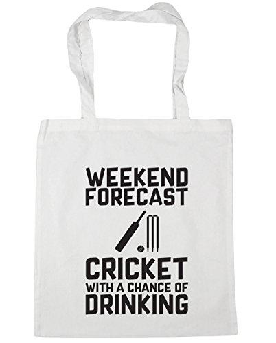 HippoWarehouse weekend Forecast Cricket con una oportunidad de Potable Tote Compras Bolsa de playa 42cm x38cm, 10litros, rosa (classic) (rosa) - 21459-TOTE-Classic Pink blanco