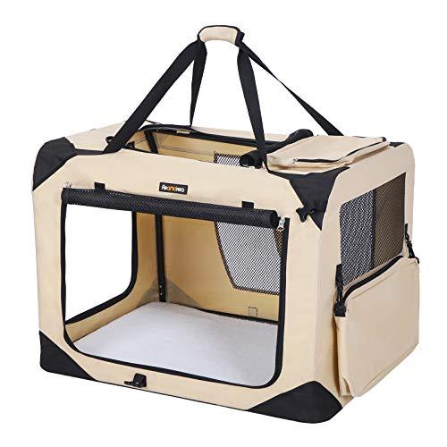 FEANDREA Hundebox Transportbox Auto Hundetransportbox faltbar Katzenbox Oxford Gewebe beige S 50 x 35 x 35 cm PDC50W