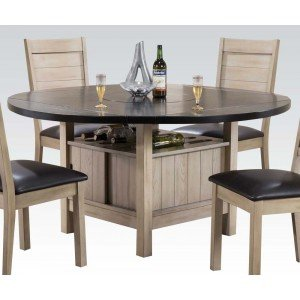 Acme Ramona Storage Dining Table with Lazy Susan, Wine Rack, Dark Walnut & Antique Beige