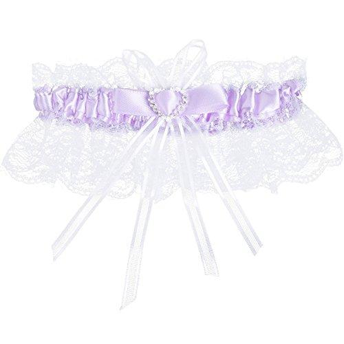 TiaoBug Women's Wedding Garter Lace Satin Bow Crystal Heart Rhinestone Bridal Garter Purple One Size ()