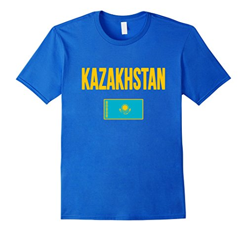 Men's KAZAKHSTAN T-shirt Kazakh Flag Tee Soccer Sport Pride Medium Royal (Kazakhstan Flag T-shirt)