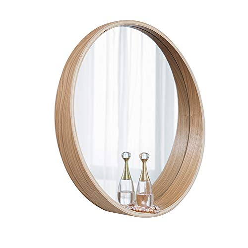 Mirror, Bathroom Bedroom Solid Wood Frame Round Vanity Mirror Storage Wall Mirror -
