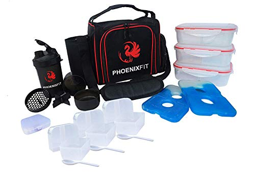 PhoenixFit Meal Prep Bag & Containers | Includes Lunch Boxes, 15oz. Protein Powder Shaker Bottle, Pill Box Organizer & Ice Packs | Double-Insulated, Food Grade, Microwave-Safe | For Gym, Work & Travel