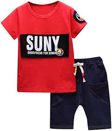 a375abb24b5 Loyalt Summer Toddler Kids Baby Boys Cute Fashion Letter Print T Shirt  Jeans Shorts 2PC Outfits