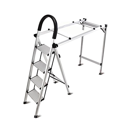 LiuJianQin Step stool ZXQZ Step Stool Multifunctional Home Folding Ladder Indoor And Outdoor Drying Racks Plus Thick Aluminum Dual-use Ladder Stool Folding (Dual Display Bench)