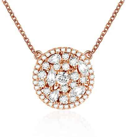 d9ab78411 QLEESI Hollow Round Pendant Necklace Gifts for Mom Women Girlfriend,  Crystal from Swarovski Rose Gold