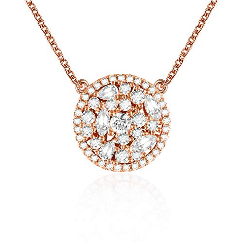 QLEESI Hollow Round Pendant Necklace for Mom Women Girlfriend, Rose Gold Chain Halo Necklaces Miss Wife Cubic Zirconia CZ Paved Jewelry Birthday Anniversary Present