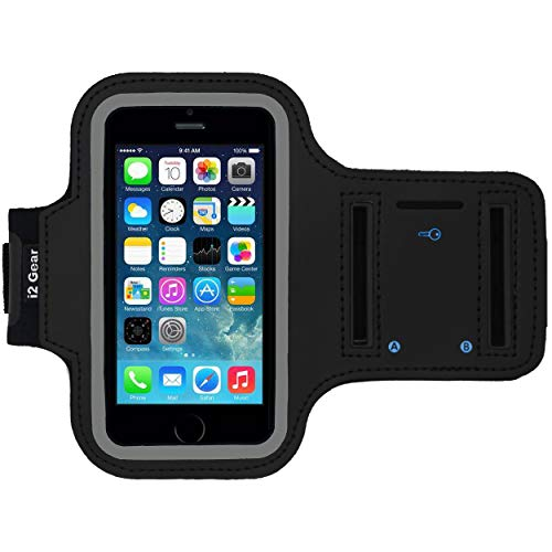 Running and Exercise Workout Armband Case for iPhone 5 5S 5C SE and iPhone 4 4S Mobile Cell Phones with Adjustable Sport Band, Reflective Border, Touch Screen Protection and Key Holder (Jet Black)