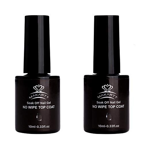 MAKARTT 2 Bottles No Wipe Top Coat Nail Polish Kit LED UV Lamp Fast Curing Soak Off Top Gel 21 Days High-Gloss Wear