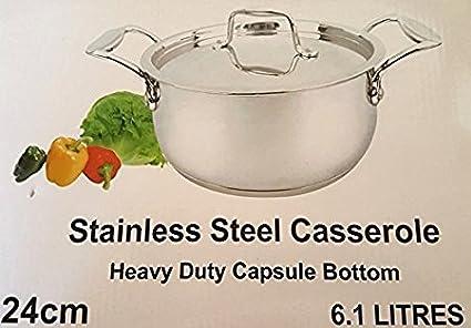 Mastercook Longlife Cookware Stainless Steel Casserole Heavy Duty Capsule Bottom 20cm //3.2 Litre