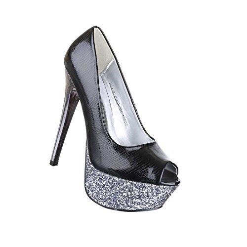 Damen Schuhe Pumps Schuhe Damen High Heels Peep Toe Plateau Schwarz 36 37 38 39 ... 5b8336