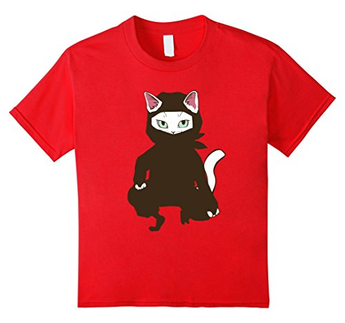 Ninja Cat Costume (Kids Funny Ninja Cat T-Shirt Costume Feline Lover Gift 6 Red)