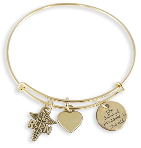 Nurse Charm Bracelet with RN Caduceus, Heart, She Believed She Could So She Did Bangle -- Silver and Gold Tone (Gold Tone)