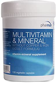 Pharmax - Multivitamin & Mineral Without Copper & Iron (Adult Formula) - Supports Good Health* - 120 Vegetable Capsules