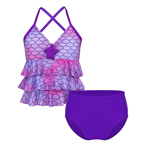 (iEFiEL Kids Big Girls' Youth 2 Piece Zebra Halter Tankini Swimwear Bathing Suit (10, Purple Mermaid))