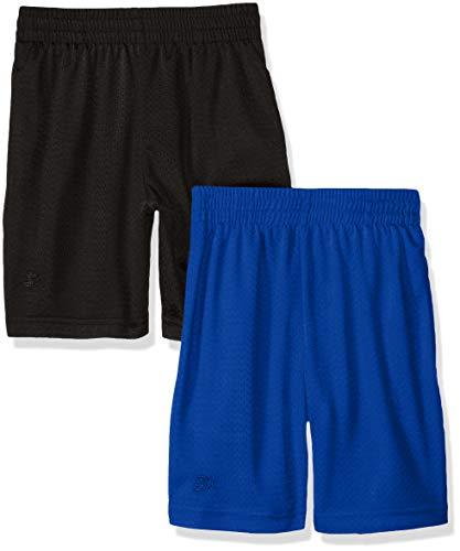 Starter Big Boys' 2-Pack Basic Mesh Short, Black with Team Blue, Small