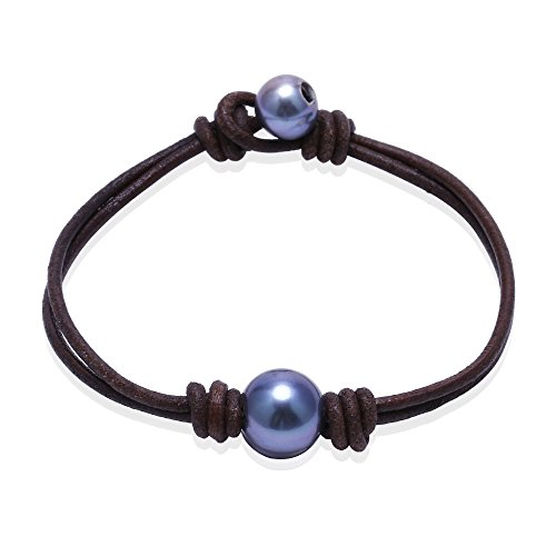 Single Cultured Freshwater Black Pearl Bracelet Handmade Leather Pearl Jewelry for Women by Aobei 7'' Brown (Leather Bracelet Bracelet Girl)