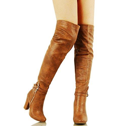 Guilty Schuhe Womens Sexy Fashion Block Chunky Heel ausgestattet Schnalle Reißverschluss - Over The Knee Boots Tan Pu