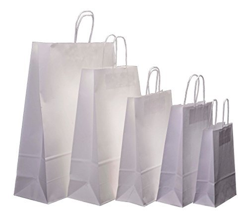 Kraft Twisted Paper - 50 x White Kraft Twisted Handle Paper Carrier Bags, Select Size (Small - 230x100x320mm) by Doran Packaging