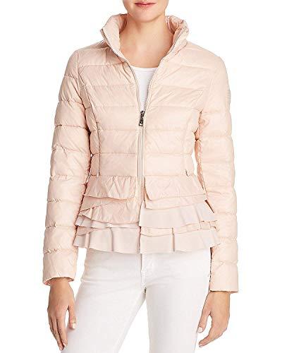 - T Tahari Zoey Ruffled Puffer Packable Coat Jacket Pink (L)