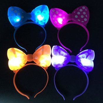 12 pc Light Up LED Minnie Mouse Ears and Polka Dot Bows Headbands (color may vary)]()