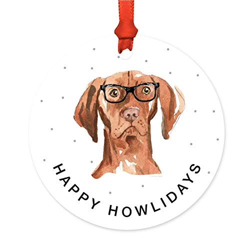 Andaz Press Preppy Dog Art Round Metal Christmas Ornament, Hungarian Vizsla in Black Glasses, 1-Pack, Birthday Present Ideas for Him Her Dog Lover, Includes Ribbon and Gift ()