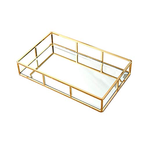 YOTHG Gold Mirrored Decorative Tray,Nordic Style Table Tray Makeup Display Organizer for Vanity,Dresser,Bathroom,Bedroom