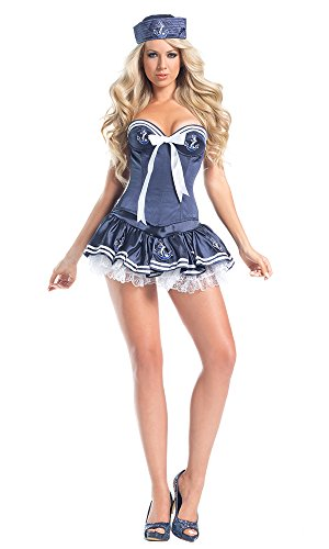 Be Wicked Women's 4 Piece Mistress Of The Sea, Dark Blue, Small/Medium (Mistress Costumes)