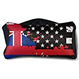 GLing-LIFE Hawaii Thin Red Line Flag USA Portable Voyage Pillow Travel Pillow and Eye Mask 2 in 1 Neck Head Support for Airplanes, Cars, Office Naps, Camping, Trains