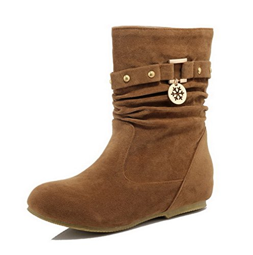 AgooLar Women's Pull-on Round Closed Toe Low-Heels Imitated Suede Low-top Boots Brown