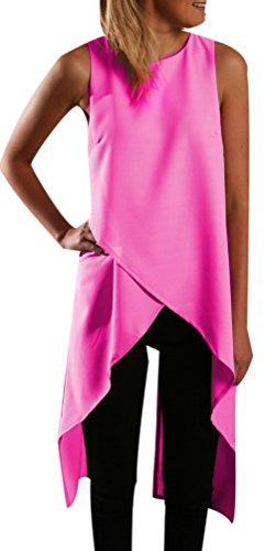 Donna Girocollo Magliette Casual Canottiere Colore Veste Shirt Senza Canotta T Femminile Estate Elegante Maniche Irregolare Camicia Chiffon Tops Rosso Top Canotte Lungo Puro AwUvqCAWr