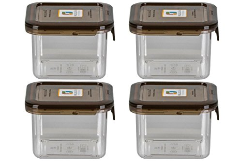 Wellslock Classic One Lock Food Storage Container 15.8.4oz size (Pack of 4) - Smoke