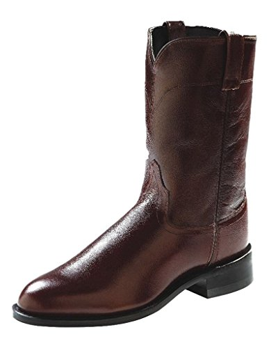 Old West Men's Leather Roper Cowboy Boot Brown (Justin Mens Roper Boots)