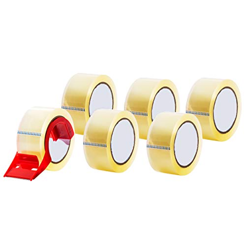 Packaging Tape, Heavy Duty Packing Tape, Clear - for Moving Boxes, Shipping, Office, and Storage - 55 Yards Length - with Dispenser - 6 Rolls Per - Dispenser Tape Length