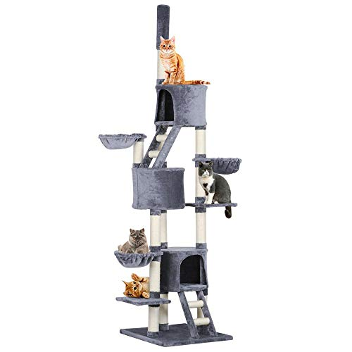 - Yaheetech Extra Large Multi-Level Cat Tree Condo with Sisal-Covered Scratching Posts, Baskets and Ladders, Kitty Activity Center Kitten Play House, Adjustable Height 93-103inch