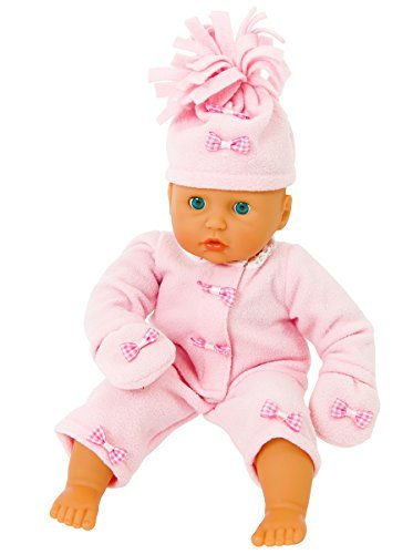 45cm Dolls - COMPLETE PINK FLEECE OUTFIT JACKET/TROUSERS/MITTENS [DOLL NOT INCLUDED] FOR 14-18 INCH [35-45 CM ] DOLLS SUCH AS 43 CM BABY BORN , TINY TEARS , COROLLE AND GOTZ DOLLS OF THIS HEIGHT. by FRILLY LILY