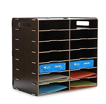 TX ZHAORUI File Rack di Legno Desktop Storage Box Multi-Layer File di Dati Rack Ufficio Forniture Rack, A
