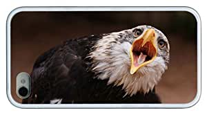 Hipster customize iPhone 4S case bald eagle emotion TPU White for Apple iPhone 4/4S