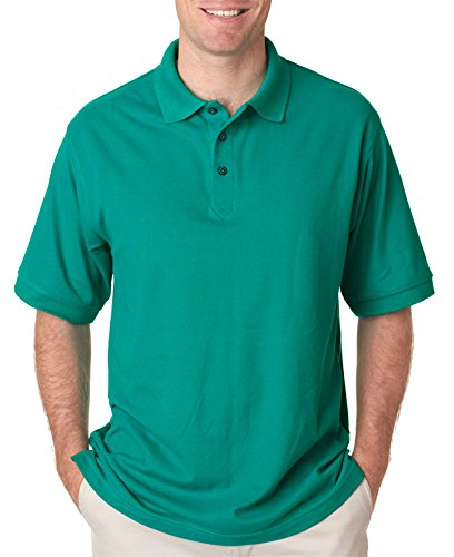 (UltraClub Men's Whisper Fit Pique Polo Shirt, Jade,)