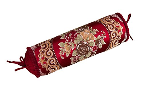 Peacewish Europe Style Luxurious Cylindrical Neck Pillow Cylinder Bolster Pillow Long Sofa Pillow Candy Pillow Nap Containing Core (Retro red)