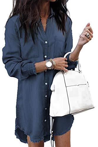 - Uinolo Women's Loose Denim Blouse Mini Dress Button Down Lapel Long Sleeve T-Shirt Dress Tops with Pockets Dark Blue L