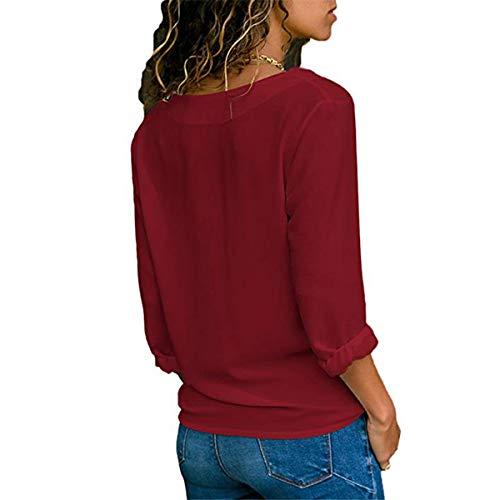 Casual Tinta Tops Donna Bluse Manica Rosso V Shirts Maglietta Cime Lunga E A Scollo Autunno Blouse Maglie Camicie Gavemenget Camicetta Unita Vino Primavera nwZx7Hqp6